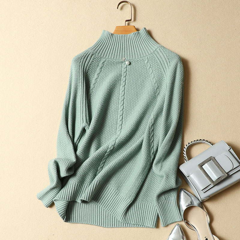 2019 new winter beaded pearl turtleneck women sweaters and pullovers loose knitted elegant lady casual pulls tops