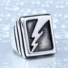 Vintage Man's Lightning Stainless Steel Never Fade Collection Titanium Boy's Punk Jewelry Ring free shipping BR8-342(China)