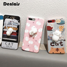 Phone Case For Samsung Galaxy S5 S6 S7 S7Edge S8 S8 Plus 3D Cute Soft Silicon Squishy Cat Fundas Cover Animal Rabbit Kitty Coque(China)