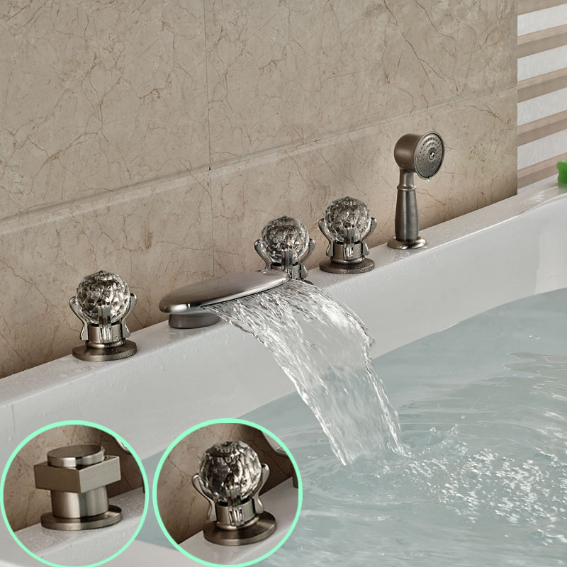 Brushed Nickel Widespread 3 Handles Waterfall Bathtub Faucet Mixer Taps Deck Mount with Handheld Shower<br><br>Aliexpress