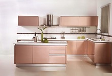 the pink series customized modern simple kitchen cabinet(China)