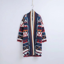 Geometric pattern knitted boho sweater long cardigans 2017 winter long sleeve open stitch hooded loose Hippie women sweater coat(China)