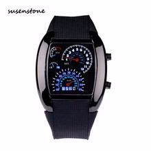 Susenstone Fashion Men Sports Watch Aviation Turbo Dial Flash LED Watch Best Gift Mens Casual Car Meter Clock Relogio Masculino
