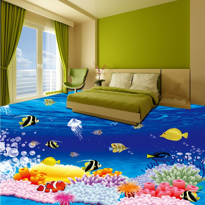 Free Shipping self-adhesive thicken floor mural children room office floor picture underwater world 3D wallpaper high quality<br>
