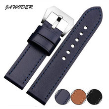JAWODER Wacth band 22mm/24mm Men blue/brown/black Crazy horse leather Genuine Leather watch strap stainless steel buckle for PAN