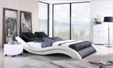 Modern bedroom furniture Genuine leather bed king bed furniture with Night Stand(China)