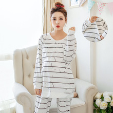 Breastfeeding pajama breast feeding nightwear White stripe nursing pajamas set nursing sleepwear nursing pyjama suit L/XL Autumn(China)