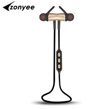2017 Zonyee Bluetooth Headset Metal Magnetic Wireless Stereo Headphones with Mic Sport Running Apt-X HD Music Bluetooth earphone