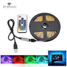 DC5V USB cable RGB LED strip light 1m 2m 3m 4m 5m usb power supply IP20 / IP65 waterproof 5050 SMD rope lamp + RF remote control