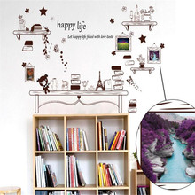 IDFIAFHappy Life Cartoon Small Desk Wall Stickers for Kids Room Decorations Muraux DIY Wallpaper Home Decor Supplies Art Sticker(China)