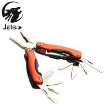 Jelbo Outdoor Survival 9 In1 Multitool Plier Sets Portable Pocket Mini Knit Compact Knives Opener Pry bar Saw Stainless Steel