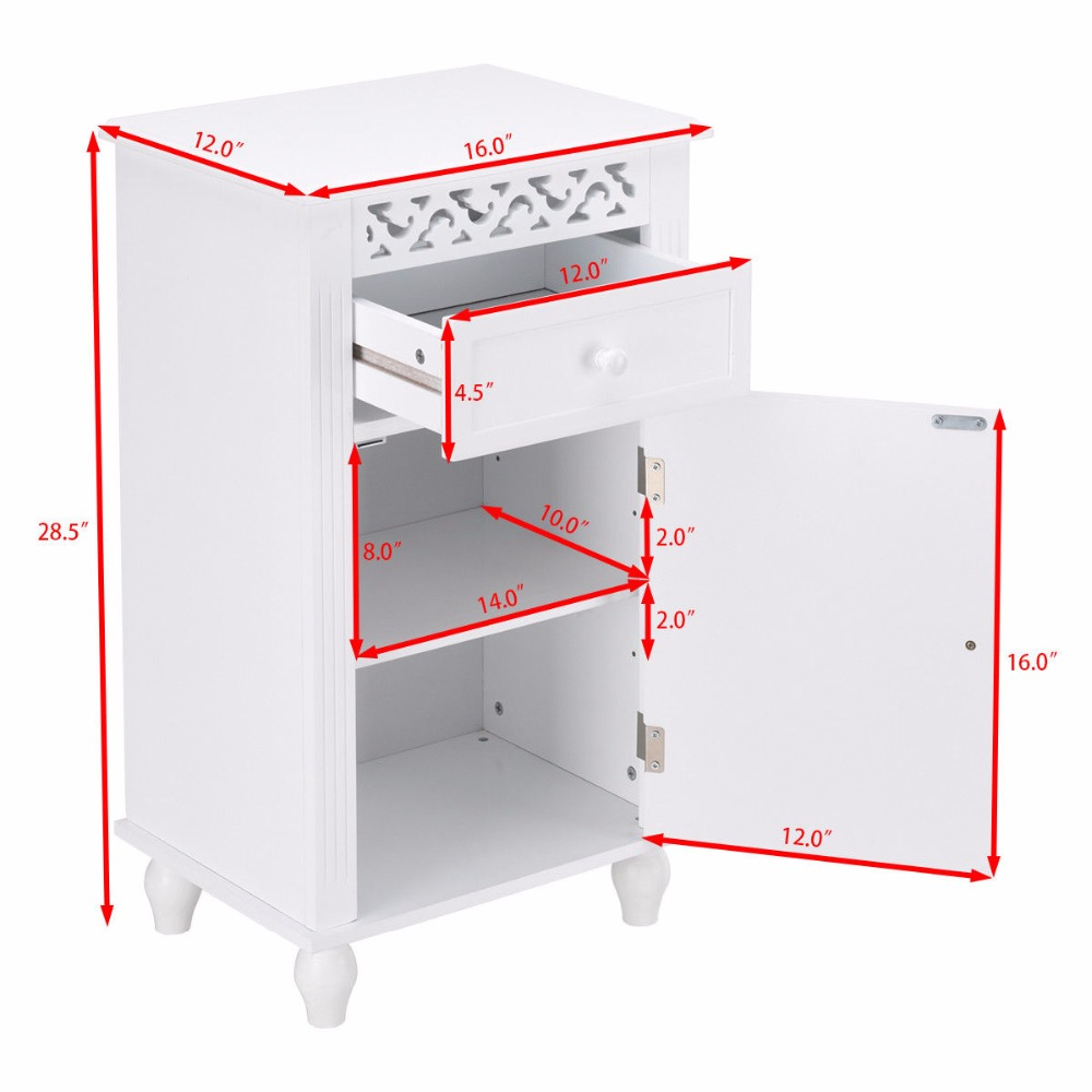 Giantex Storage Floor Cabinet Bathroom Organizer Floor Cabinet Drawer Kitchen White Modern Bathroom Furniture HW57018 9