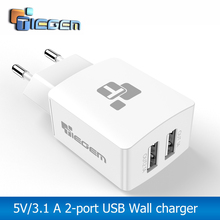 TIEGEM Universal 2 port Travel DUal USB Charger Adapter Wall Portable EU Plug Mobile Phone Smart Charger for iPhone Tablet(China)