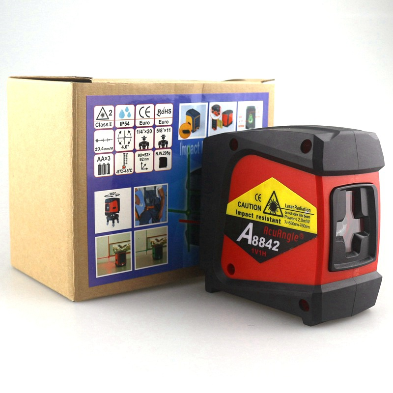 ACUANGLE A8842 Laser Level and Detector 635nm 360 Self-leveling Rotary Red Instrument Cross Line 2 Lines 1 Point Diagnostic Tool<br>