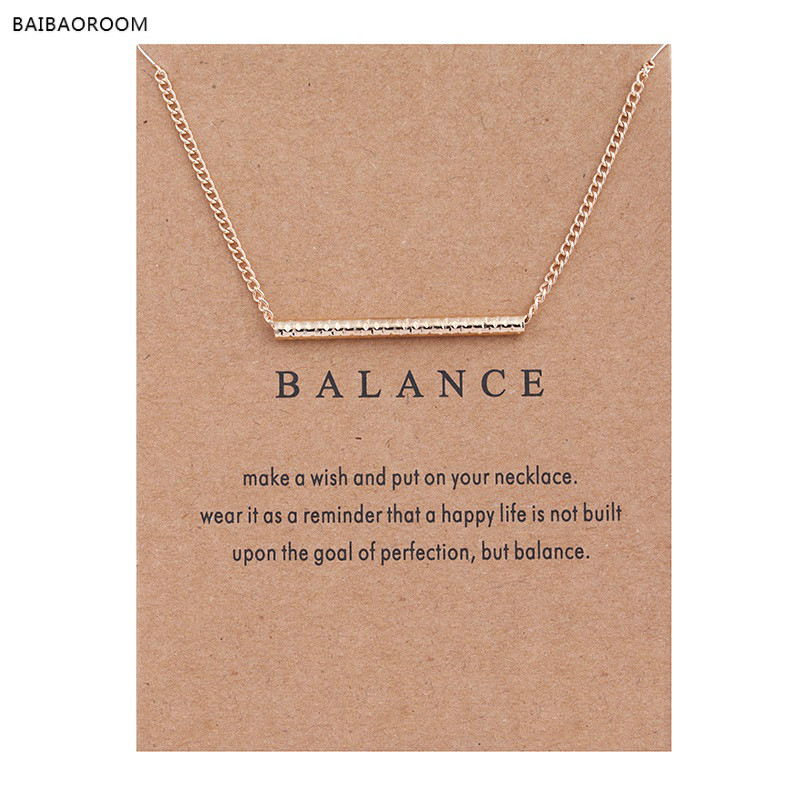 New Gold Plated Balance Wood Straight Bar Alloy Clavicle snake Pendant Short Necklace