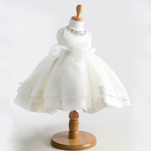 White summer Girls dress party princess wedding dresses Baby toddler vestido infantil Birthday Christmas dress 18M 2 4 6 8 ages