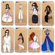 New Case Cover For Iphone 6 6s Plus 5 5s SE 4 4s 6Plus Fashion Kardashian drink coffee Girl Design Transparent TPU Phone Cases