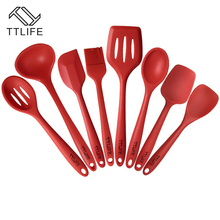 TTLIFE 8PCS Approved Silicone Cooking Tools Silicone Kitchen Utensils Set in Hygienic Solid Coating Quality Silicone Utensil Set