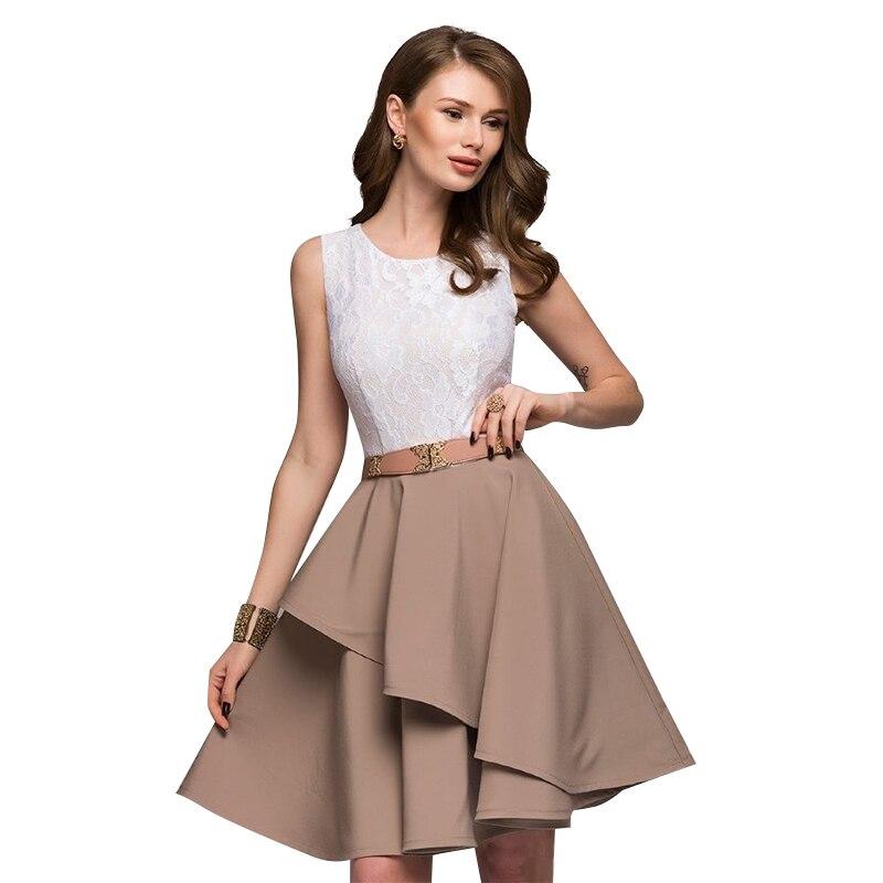 Lace Dress 2018 Women's New Fashion Summer Beach Sleeveless Flare Dresses Mini A-Line Party Dress Vestidos Plus Size 4