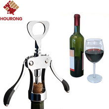 Hourong 1Pc Professional Stainless Steel Wine Bottle Opener Handle Pressure Corkscrew Red Wine Opener Kitchen Accessory Bar Tool(China)