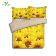 2017 3d Flower sunflower rose 2/3pcs Polyester Bedding Set Pillowcase Bed Clothes Twin Full Queen size summer Home textile gift