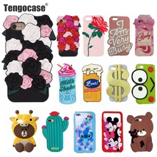 Tengocase rose flower soft silicone case for iPhone 7 8 plus 3d cute cartoon bear pig rubber cover for iPhone 6 6s plus cases(China)