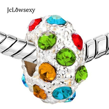 2016 New 1PC Alloy Bead With Czech Republic Colorful Crystal Silver Plated Beads DIY Charms Fit   Bracelet B41-8