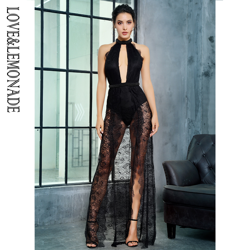 Love&Lemonade   Black Collar Cut Out Knit Decoration Lace Slim Long Dress LM81282