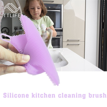 TTLIFE Practical Silicone Dish Washing Sponge Scrubber High Quality Soft Cleaning Antibacterial Brush Kitchen Tools