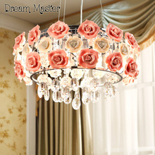 Warm romantic flower crystal chandelier bedroom living room restaurant modern fashionable garden LED Chandelier free shipping