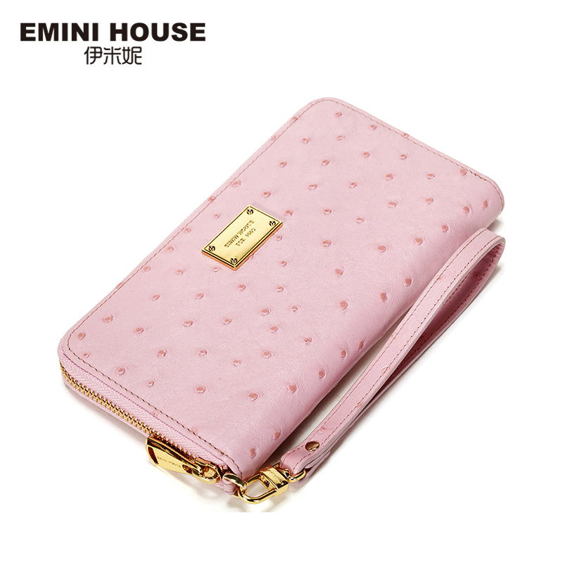 EMINI HOUSE Ostrich Pattern Wallet Women Genuine Leather Long Wallets Zipper Coin Purse Card Holder Casual Clutch Travel Wallets<br>