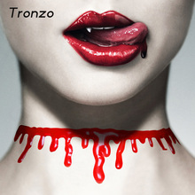 Tronzo New Halloween Bloody Neck Scary Horror Blood Chain Necklace Halloween Decoration Make Up Party Supplies April Fools' Day