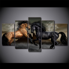 Drop Shopping HD Printed 5 Piece Canvas Art Black Brown Horse Painting Wall Pictures for Living Room Wall Customized