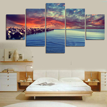 5 Piece Modern Wall Painting Home Decor Canvas Water And Clouds And Stone Picture Art HD Print Painting On Canvas Artworks Art