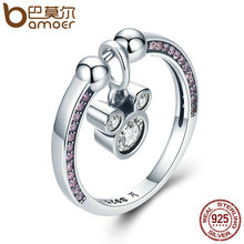 BAMOER Hot Sale Genuine 925 Sterling Silver Fashion Cartoon & Pink CZ Rings for Women Sterling Silver Jewelry Gift SCR127(China)