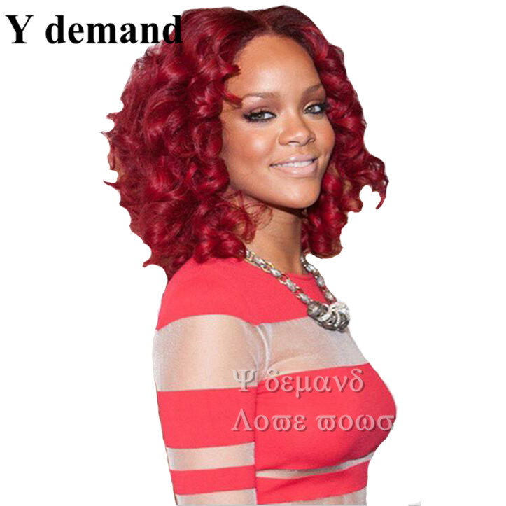 Best Seller Vogue Wig BOB Red Female Rihanna Curly Celebrity Hairstyle Fashion &amp; Charming Style Synthetic Cheap Hair Wigs<br><br>Aliexpress