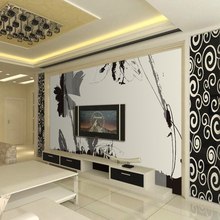 space living room bedroom TV background 3d wall mural 3d wallpaper write mural with black flower 3d wall paper