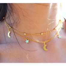 New arrivals Beautiful Layered Choker Necklace cheap fashionable gold stars and the moon pendant Necklace