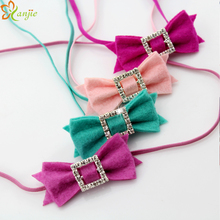 "Free Shipping 25pcs/lot  2"" Tiny Felt Bow Square Hollow Out Rhinestone on 1/8"" Skinny Elastic Girls And Kids Headband Hairbands"