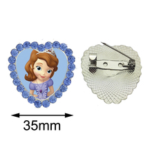 2017 New Sofia the First Heart Brooches Lovely Princess Pins Fairy Tale Accessory Glass Photo Breastpin Crystal Brooch for Women(China)