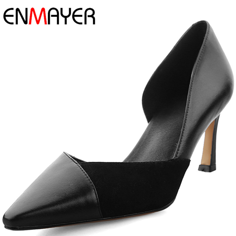 ENMAYER New Fashion Style Genuine Leather High Heels Party Wedding Shoes Woman Mature Black Spring and Autumn Pumps Size 34-39<br><br>Aliexpress