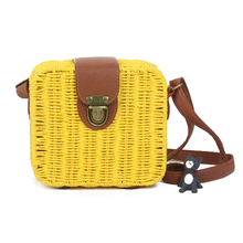 2017 Summer Cool Candy Color Shoulder Bag Hand Made Exquisiteness Straw Bags Mini Woven Flap Sweet Pastoral Style Rattan Bag 100