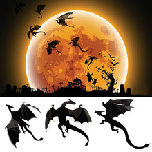 PVC Black 7Pcs / Lot Halloween Gothic Wallpaper Stickers Game Power Limited 3D Dragon Decoration nt0