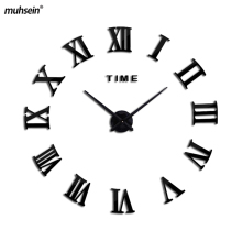 2017 New Home decoration large  wall clock modern design 3D roman self adhesive wall clolk Wall Clocks  unique Free shipping