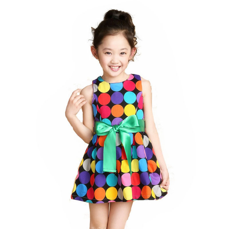 2016 Summer Style Kids Girl Cute Dot Dresses Fashion Casual Summer Cool Sleeveless Colorful Dress Vestido Infantil Kids Clothes<br><br>Aliexpress
