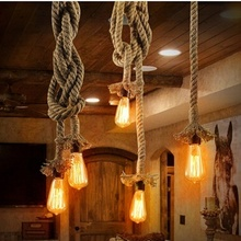 Vintage Hemp Rope Chandelier Country Drop light Ceiling Lamp Pendant Lamp American Style For restaurant/bar home decoration