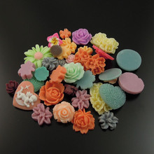 Wholesale 80pc/pack 30*26/10*10mm Mixed Cute Styles Flower Resin Flat back Cameo Cabochon Scrapbook Hair Jewelry Findings 36498(China)