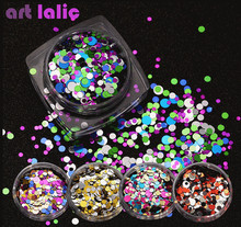 1 Box Ultrathin Nail Glitter Sequins Mix Round 3D Nail Art Decoration UV Gel Tips Manicure DIY