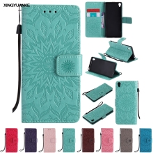 Fashion Sunflower Flip Wallet Case Leather Cover Sony Xperia Z3 Z4 Z5 mini Xperformace X XA XZ M2 M4 M5 E5 Phone cases coque - XINGYUANKE OfficialFlagship Store store
