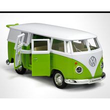 Green 1/36 Volkswagen T1 VW Bus Car Models Pull Back With Openable Doors Collections Gifts Toys